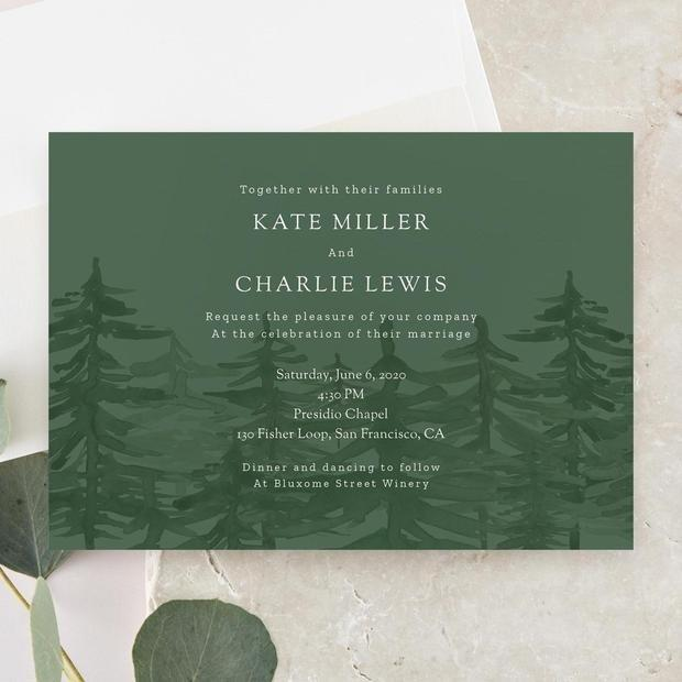 "<h2>Camden Invitation</h2> <p>I love the Camden paper suite for any couple that's having a <a href=""https://www.brides.com/gallery/rustic-wedding-decorations?mbid=synd_yahoo_rss"">rustic wedding</a> (or just really likes… trees).</p> <p>SHOP NOW: <a href=""https://www.zola.com/wedding-planning/invitations/5074f429-4c9b-47a1-ae96-6acc23d4dfb5"" rel=""nofollow"">Zola</a>, $159 for 100</p>"