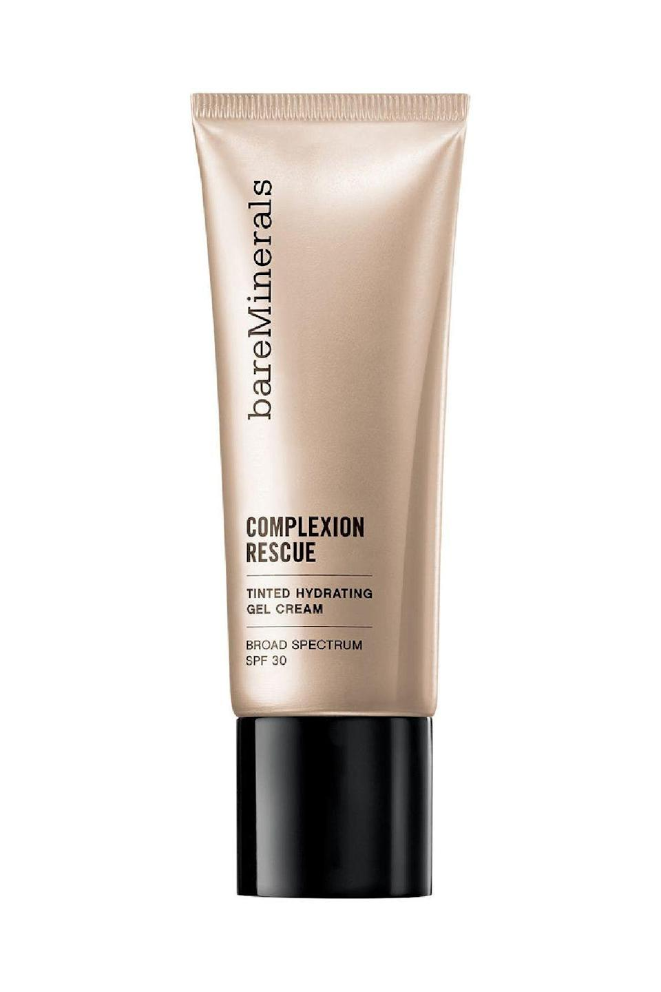 """<p><strong>bareMinerals</strong></p><p>sephora.com</p><p><strong>$33.00</strong></p><p><a href=""""https://go.redirectingat.com?id=74968X1596630&url=https%3A%2F%2Fwww.sephora.com%2Fproduct%2Fcomplexion-rescue-tinted-hydrating-gel-cream-P393356&sref=https%3A%2F%2Fwww.marieclaire.com%2Fbeauty%2Fmakeup%2Fg3427%2Fbest-bb-creams%2F"""" rel=""""nofollow noopener"""" target=""""_blank"""" data-ylk=""""slk:SHOP IT"""" class=""""link rapid-noclick-resp"""">SHOP IT </a></p><p>In one simple step, this cream brings on the glow. It has a hydrating gel-based texture that's perfect for dry and dehydrated skin. It also has skin-plumping ingredients, such as squalene and mineral electrolytes, when your face needs a little lift. </p>"""