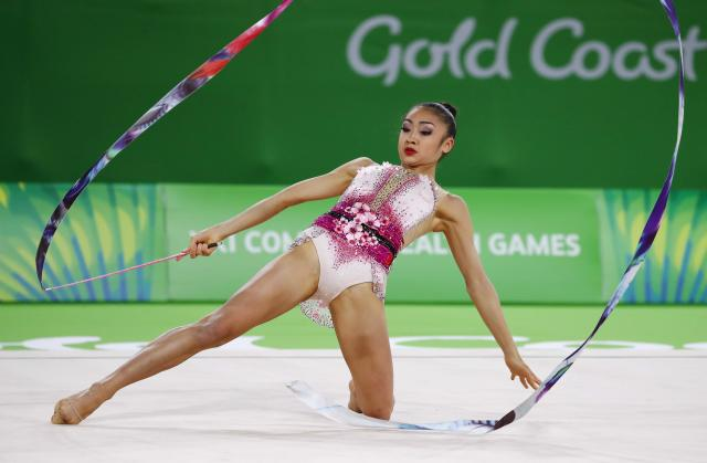 Rhythmic Gymnastics - Gold Coast 2018 Commonwealth Games - Individual Ribbon Final - Coomera Indoor Sports Centre - Gold Coast, Australia - April 13, 2018. Katherine Uchida of Canada. REUTERS/David Gray