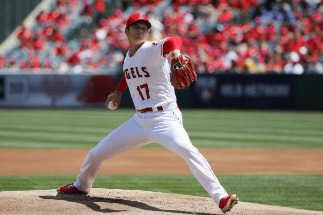 Shohei Ohtani flirted with a perfect game in his first home start for the Los Angeles Angels. (AP)