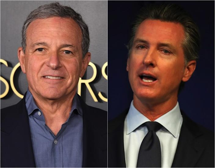 "Walt Disney Co. Executive Chairman Bob Iger, left and Gov. Gavin Newsom. <span class=""copyright"">(Getty Images)</span>"