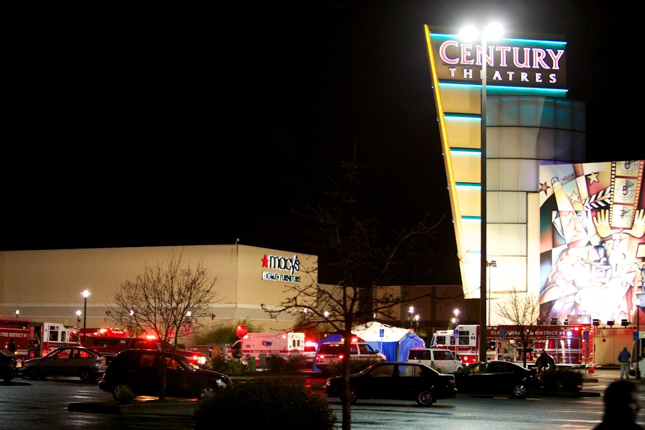 Emergency vehicles gather outside the Clackamas Town Center mall after a shooting on December 11, 2012 in Clackamas, Oregon. According to reports, two victims and the gunman are dead after emergency dispatchers received reports that a shooting had occurred and a man was seen with an assault rifle near the mall's food court around 3:29 p.m. (Photo by Craig Mitchelldyer/Getty Images)