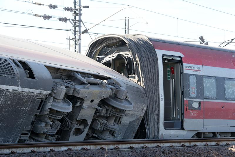 ROME, Feb. 6, 2020 -- Photo shows a derailed train near Lodi, Italy, Feb. 6, 2020. A high-speed train derailed in northern Italy near Milan in the early hours of Thursday, leaving two railway employees dead and traffic interrupted on the busy line between Milan and Bologna. (photo by Xinhua via Getty) (Xinhua/Cheng Tingting via Getty Images) (Photo: Xinhua News Agency via Getty Images)