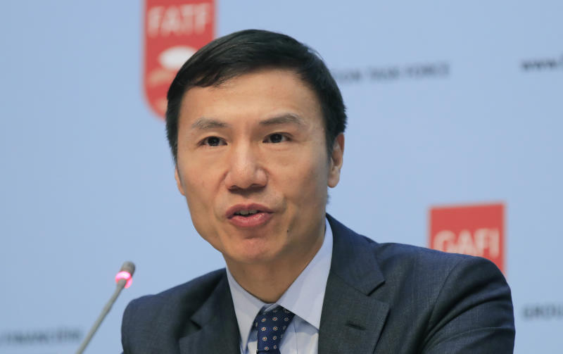 Financial Action Task Force (FATF) President Xiangmin Liu speaks during a media conference at the OECD headquarters in Paris, Friday, Oct. 18, 2019. FATF a international monitoring agency has given Pakistan four months to prove it is fighting terrorism financing and money laundering or it could be put on a damaging global blacklist. (AP Photo/Michel Euler)