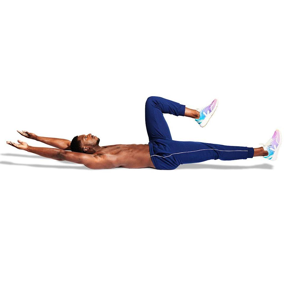 <p>Extend one leg, with your lower back pinned to the floor. Keeping both of your arms straight, lower them towards the floor over your head. (In a regular dead bug, you'd lower them one at a time.)</p>