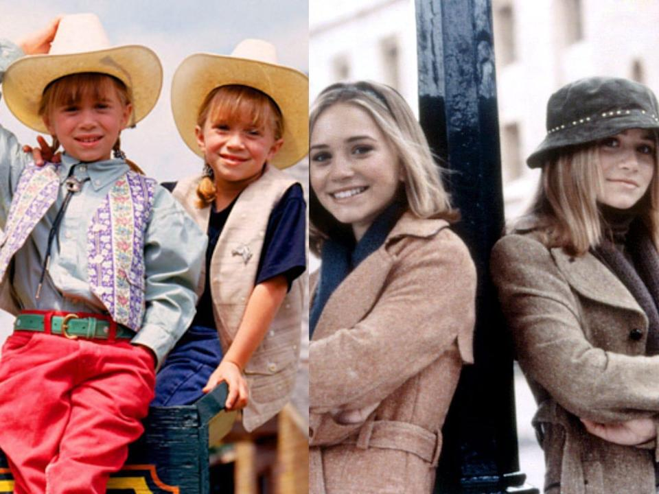 Mary-Kate and Ashley Olsen as children and as teenagers