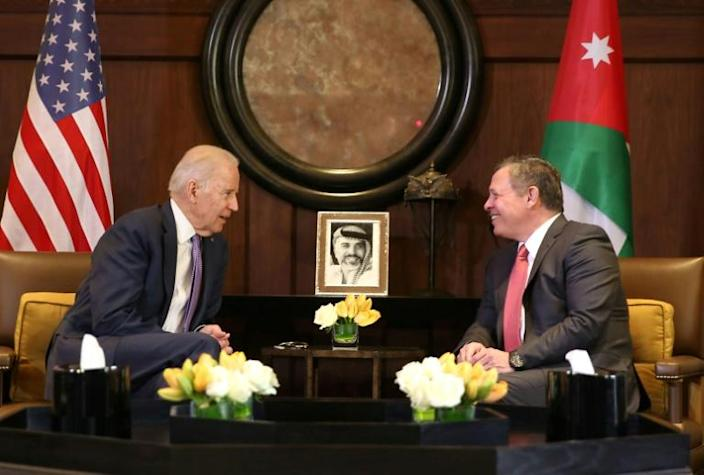 Then US vice president Joe Biden meets King Abdullah II in Amman in March 2016 -- Jordan has made itself a key Western partner in conflicts in Iraq and Syria, as well as the Israeli-Palestinian conflict
