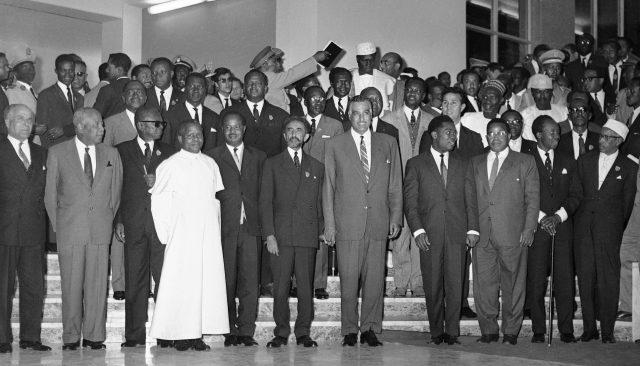 "Emperor Haile Selassie of Ethiopia, poses with African heads of state in Addis Ababa in May 1963 at the end of their ""summit"" conference."