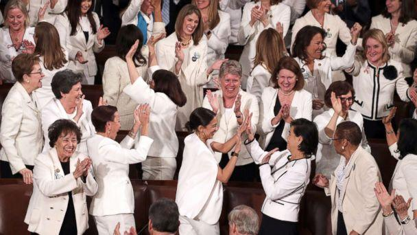 PHOTO: Female lawmakers cheer during President Donald Trump's State of the Union address in the chamber of the U.S. House of Representatives on Feb. 5, 2019, in Washington. (Alex Wong/Getty Images)