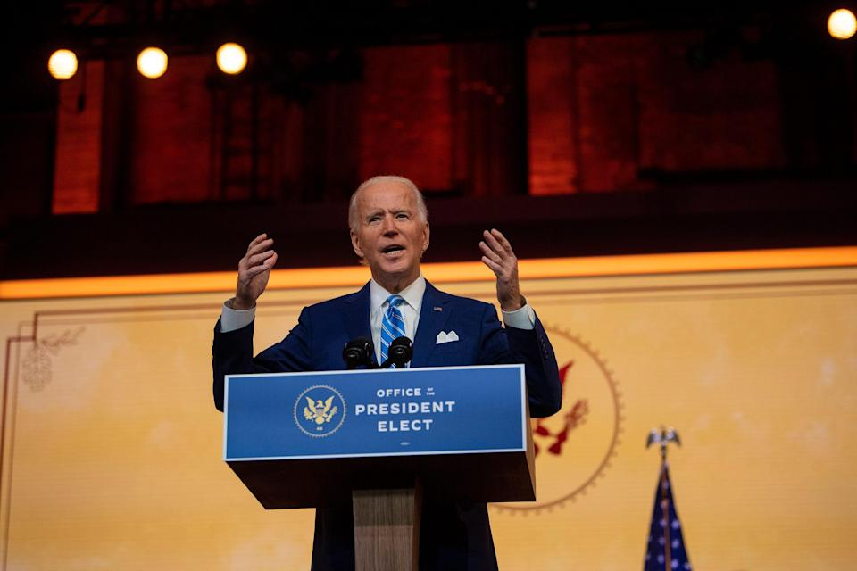 President-elect Joe Biden delivers a Thanksgiving address at the Queen Theatre in Wilmington, Delaware, on Nov. 25, 2020.