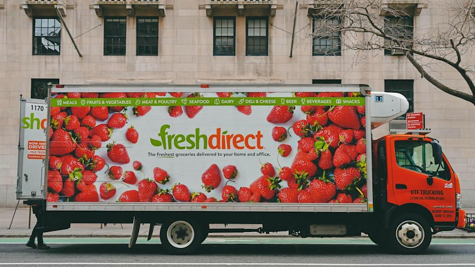 NEW YORK, NY -1 FEB 2020- View of a Fresh Direct delivery truck on the street in New York City.