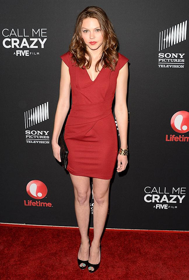 "Aimee Teegarden attends the premiere of Lifetime's ""Call Me Crazy: A Five Film"" at Pacific Design Center on April 16, 2013 in West Hollywood, California."