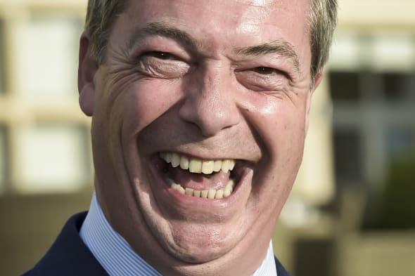 Farage smashes champagne glass
