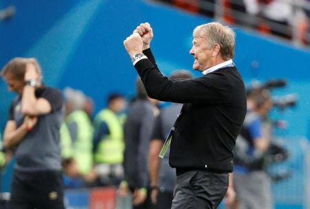 Soccer Football - World Cup - Group C - Peru vs Denmark - Mordovia Arena, Saransk, Russia - June 16, 2018 Denmark coach Age Hareide celebrates at the end of the match REUTERS/Max Rossi