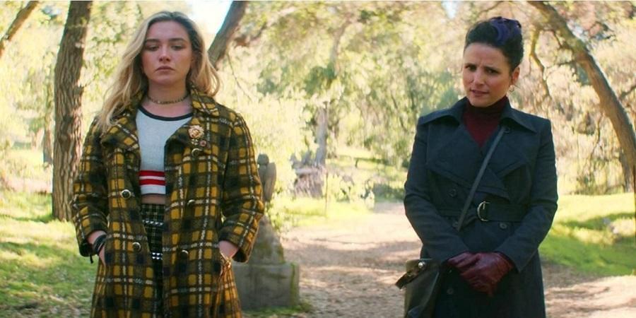 Florence Pugh and Julia Louis Dreyfus in the Black Widow post-credits scene.