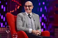 <p>Stanley Tucci looks dapper as he films The Graham Norton Show in London on Thursday. </p>