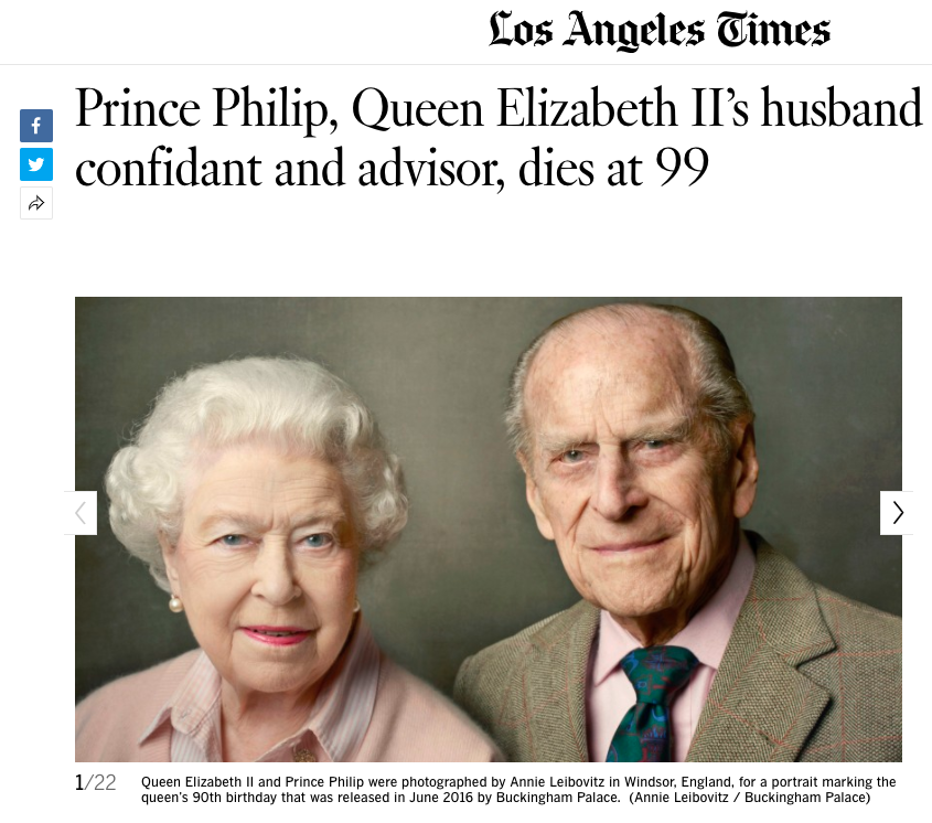 The LA Times also carried the Duke's passing as the main story on their website on Friday lunchtime, as the news broke in America. (LA Times)