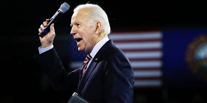 Former Vice President Joe Biden after speaking at the McIntyre-Shaheen 100 Club Dinner on Sunday in Manchester, New Hampshire.