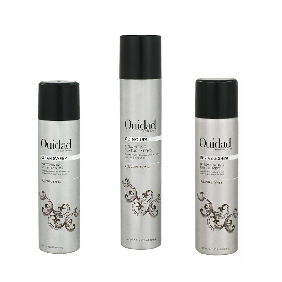 "<p>Ouidad is releasing a trio of dry stylers this month. The first is its Clean Sweep Moisturizing Dry Shampoo, which was created to condition your curls as it soaks up any excess oil. The Going Up! Volumizing Texture Spray is here to plump your curls when they're flat, and the Revive & Shine Rejuvenating Dry Oil Mist is the perfect product to use between washes to give your coils a boost of shine and moisture.</p> <p>$26-$36 (<a href=""https://shop-links.co/1684065662800743394"" rel=""nofollow"">Shop Now</a>)</p>"