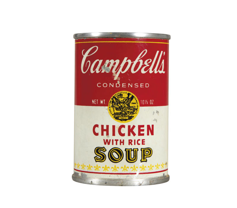 """This undated photo provided by Christies's auction house in New York shows Andy Warhol's """"Campbell's Chicken with Rice Soup,"""" tin soup can filled with concrete, with a pre-auction estimate of $50,000-70,000. It is one of about 125 artworks being offered from Feb. 26 through March 5 in Christie's first online-only Warhol sale. The works can be previewed online prior to the sale. Bidders can browse, bid and receive instant updates by email or phone if another bid exceeds theirs. (AP Photo/Christie's)"""