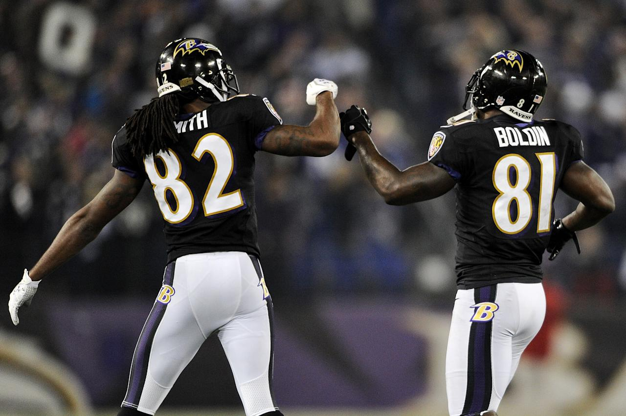 BALTIMORE, MD - DECEMBER 02: Torrey Smith #82 of the Baltimore Ravens celebrates with his teammate wide receiver Anquan Boldin #81 after his touchdown in the second quarter against the Pittsburgh Steelers at M&T Bank Stadium on December 2, 2012 in Baltimore, Maryland. (Photo by Patrick Smith/Getty Images)