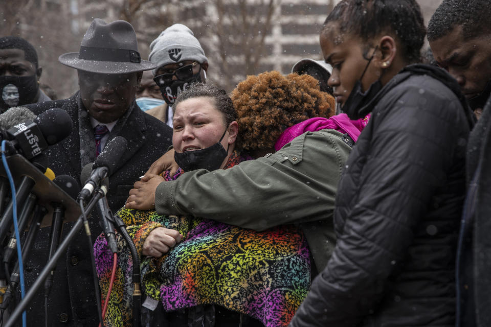 Katie Wright, the mother of Daunte Wright, 20, who was shot and killed on Sunday during a traffic stop by police in Brooklyn Center, Minn., speaks during a news conference in Minneapolis, Minn., on Tuesday, April 13, 2021. (Victor J. Blue/The New York Times)