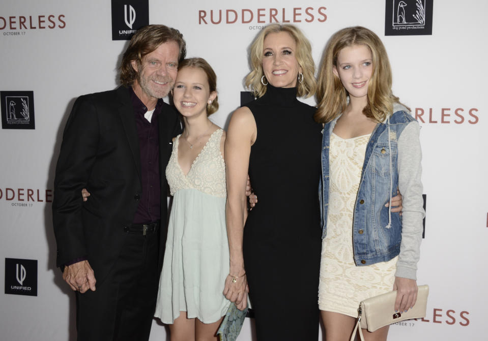 """William H. Macy, and from left, Grace Macy, Felicity Huffman and Sophia Macy arrive at the Los Angeles VIP screening of """"Rudderless"""" at The Vista Theater on Tuesday, Oct. 7, 2014. (Photo by Dan Steinberg/Invision/AP)"""