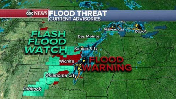 PHOTO: A flash flood watch and flood warning are in effect in the Southern Plains on Saturday. (ABC News)
