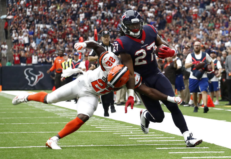 Cleveland Browns safety Jabrill Peppers (22) pushes Houston Texans running back D'Onta Foreman (27) out of bounds after Foreman caught a pass near the end zone in the first half of an NFL football game, Sunday, Oct. 15, 2017, in Houston. (AP Photo/Eric Gay)