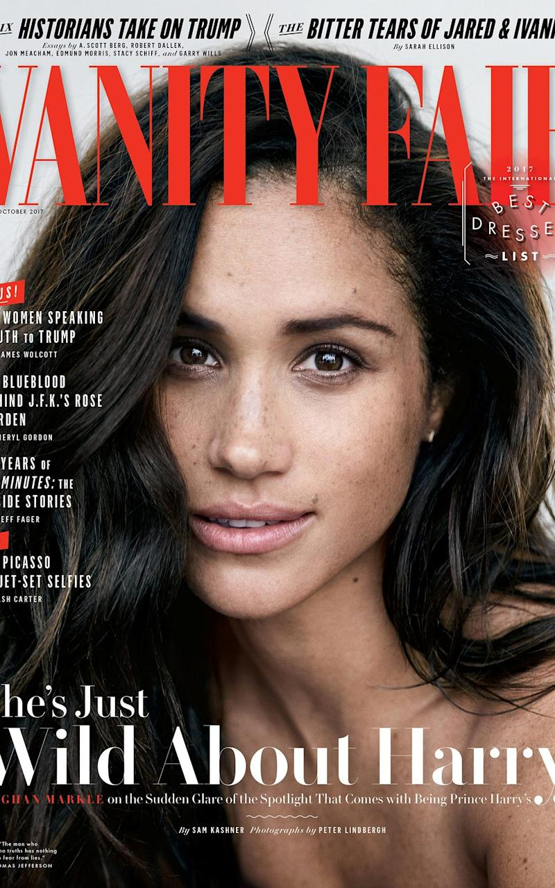The October 2017 cover of Vanity Fair featuring the then actress Meghan Markle