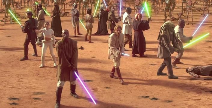 The Jedi Order forms a battalion in the Geonosis arena, at the start of the Clone War.