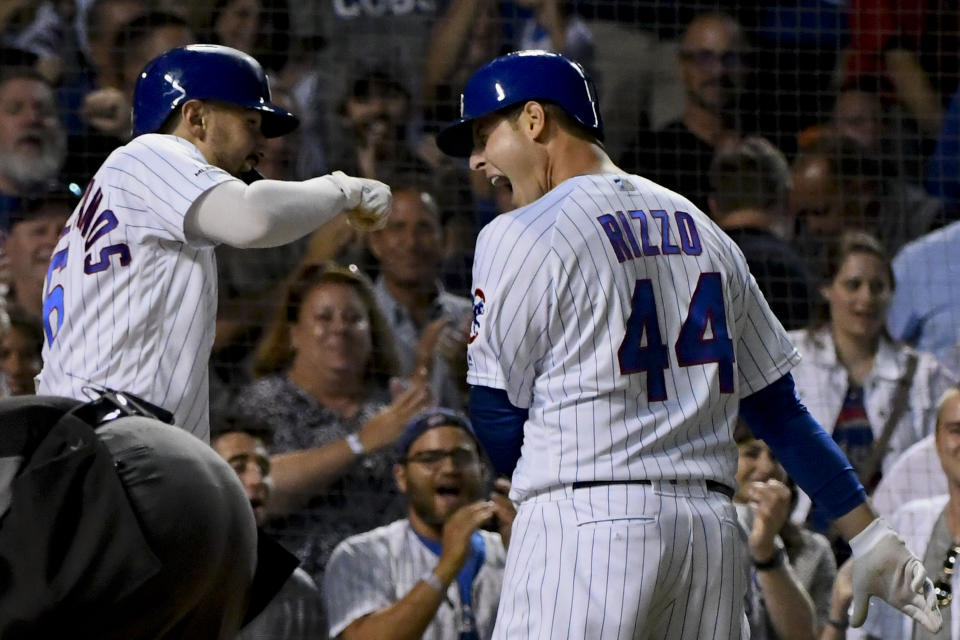 Anthony Rizzo returned to the Cubs lineup with a bang. (AP Photo/Matt Marton)