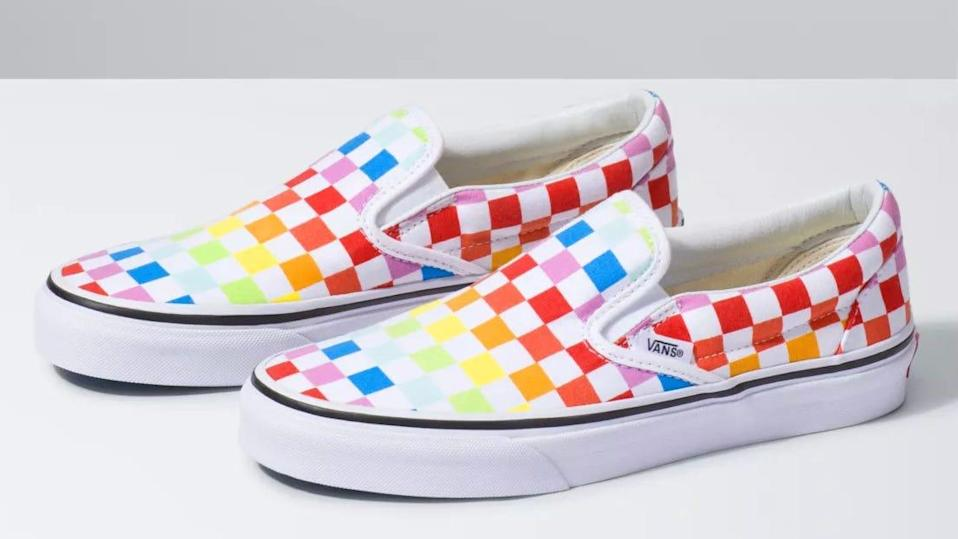 Those classic Vans sneakers are getting a rainbow redo for Pride Month 2021.
