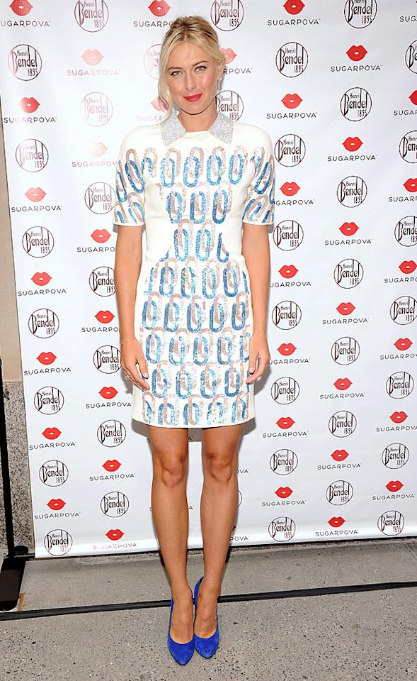 "Maria Sharapova wore this patterned David Koma dress -- and Sergio Rossi suede pumps -- to the unveiling of her new candy line, Sugarpova, on Monday morning. Are you sweet or sour on the tennis ace's ensemble? Discuss! (8/20/2012)<br><br><a target=""_blank"" href=""http://sports.yahoo.com/news/azarenka-seeded-no-1-williams-184937923--ten.html"">Sharapova seeded No. 3 for U.S. Open</a>"