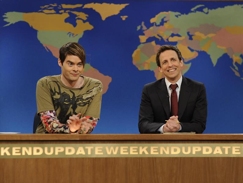 """This image released by NBC shows Bill Hader, portraying the character Stefon, left and Seth Meyers during a skit from """"Saturday Night Live."""" Hader was nominated for an Emmy award Thursday, July 19, 2012 for outstanding supporting actor in a comedy series for his various roles on """"SNL."""" Fellow castmate Kristen Wiig was also nominated for an Emmy award for her various roles on """"Saturday Night Live."""" The 64th annual Primetime Emmy Awards will be presented Sept. 23 at the Nokia Theatre in Los Angeles, hosted by Jimmy Kimmel and airing live on ABC. (AP Photo/NBC,Dana Edelson)"""