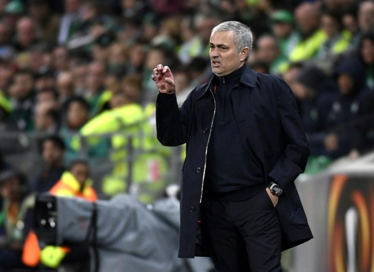 Manchester United's manager Jose Mourinho pictured during their Europa League match against Saint-Etienne, at the Geoffroy Guichard stadium in Saint-Etienne, France on February 22, 2017