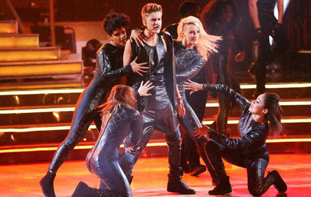 justin bieber wears leather onesie with harem pants on