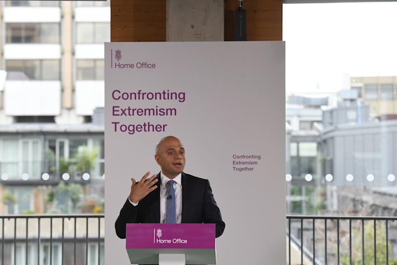 "Home Secretary Sajid Javid makes a speech in central London on confronting extremism as he calls on public figures to ""moderate their language"" to halt the spread of poisonous ideologies. PRESS ASSOCIATION Photo. Picture date: Friday July 19, 2019. See PA story POLITICS Extremism. Photo credit should read: Stefan Rousseau/PA Wire"