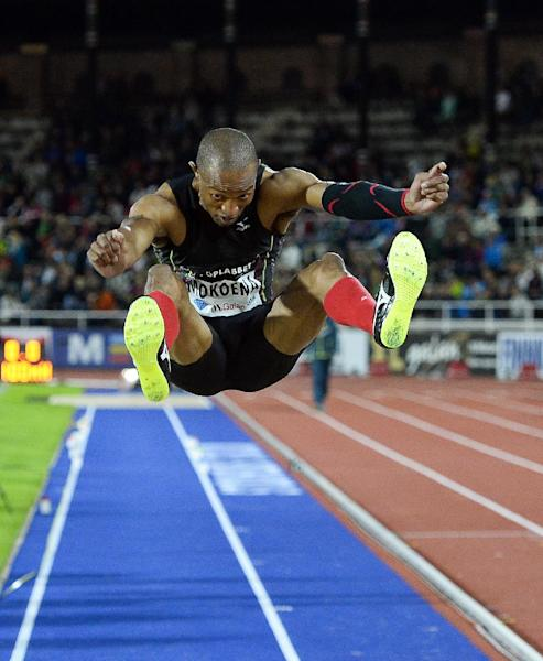South Africa's Godfrey Khotso Mokoena competes to win the men's long jump event during the IAAF Diamond League DN Galan meeting at the Stockholm Olympic Stadium on August 21, 2014 (AFP Photo/Jonathan Nackstrand)