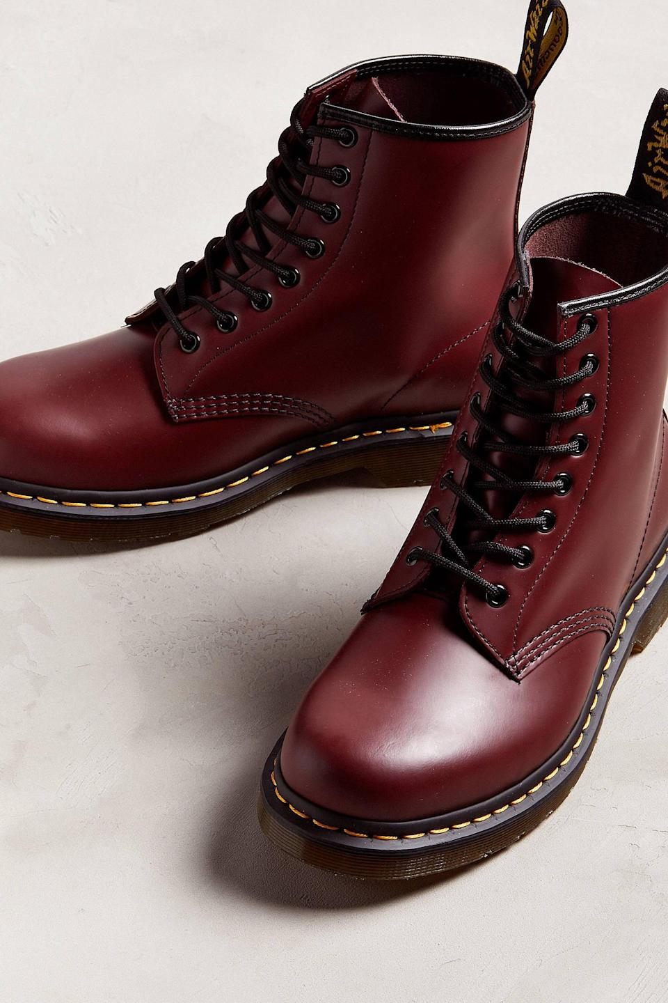 <p>Give his style a step up with these <span>Dr. Martens Core 1460 Smooth Leather Lace Up Boots</span> ($150). If he's not into red, they also come in black, green, and a bunch of other colors.</p>