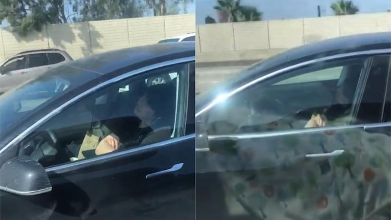 Footage of Tesla driver 'asleep' in seat sparks alarm