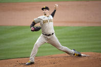 San Diego Padres starting pitcher Blake Snell delivers during the first inning of a baseball game against the Los Angeles Dodgers in Los Angeles, Saturday, April 24, 2021. (AP Photo/Kyusung Gong)
