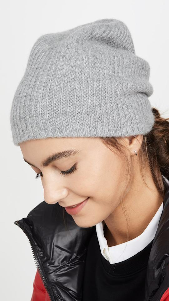 "<p>Bundle up in this adorable <a href=""https://www.popsugar.com/buy/White-Warren-Cashmere-Plush-Rib-Beanie-496042?p_name=White%20%2B%20Warren%20Cashmere%20Plush%20Rib%20Beanie&retailer=shopbop.com&pid=496042&price=145&evar1=savvy%3Aus&evar9=45472837&evar98=https%3A%2F%2Fwww.popsugar.com%2Fsmart-living%2Fphoto-gallery%2F45472837%2Fimage%2F46696203%2FWhite-Warren-Cashmere-Plush-Rib-Beanie&list1=shopping%2Cgifts%2Choliday%2Cwork%2Cgift%20guide%2Ccommute%2Ctravel%20tips%2Cgifts%20for%20women%2Cgifts%20for%20men&prop13=mobile&pdata=1"" rel=""nofollow"" data-shoppable-link=""1"" target=""_blank"" class=""ga-track"" data-ga-category=""Related"" data-ga-label=""https://www.shopbop.com/cashmere-plush-rib-beanie-white/vp/v=1/1529908841.htm?fm=search-viewall&amp;os=false"" data-ga-action=""In-Line Links"">White + Warren Cashmere Plush Rib Beanie</a> ($145).</p>"