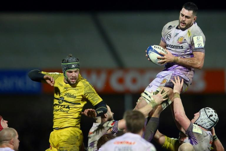 Exeter lock Dave Dennis climbs high to collect the ball in a game where the Chiefs were head and shoulders above La Rochelle