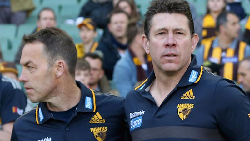 Alastair Clarkson and Brett Ratten, pictured here before a Hawthorn game in 2015.
