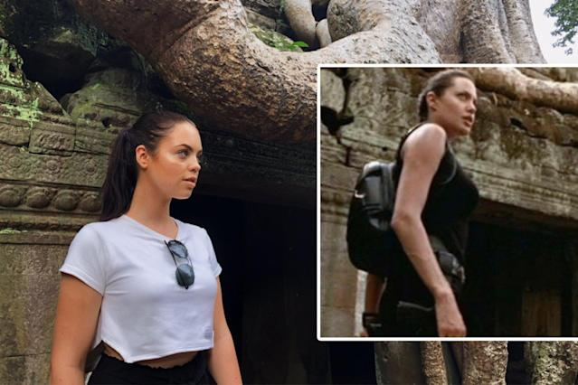 This social media influencer looks a lot like Angelina Jolie in <em>Tomb Raider</em>. (Photo: Twitter/Claudia Sulewski; Paramount Pictures)