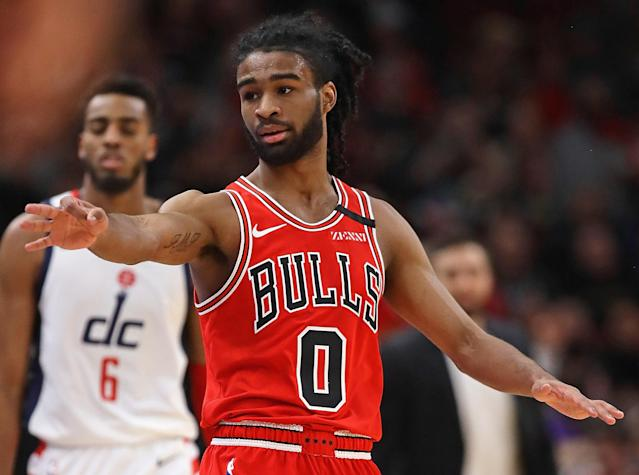Coby White is still coming off the bench for the Chicago Bulls, but the rookie is producing valuable fantasy numbers of late. (Photo by Jonathan Daniel/Getty Images)