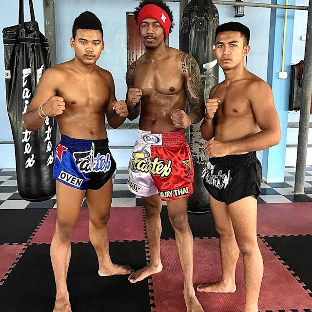 """<p>Cannon appeared to be in fighting form during a trip to Thailand. """"Training with some of the best Muay Thai fighters here in Thailand!"""" he exclaimed of the #Ncredible experience. (Photo: <a href=""""https://www.instagram.com/p/BT3PNoPlnt_/"""" rel=""""nofollow noopener"""" target=""""_blank"""" data-ylk=""""slk:Nick Cannon via Instagram"""" class=""""link rapid-noclick-resp"""">Nick Cannon via Instagram</a>) </p>"""