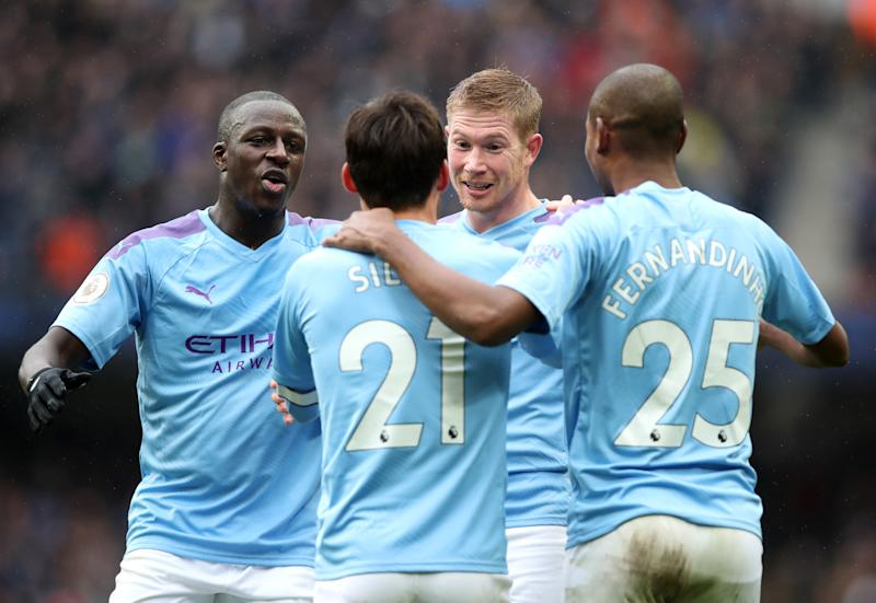 MANCHESTER, ENGLAND - OCTOBER 26: Kevin De Bruyne of Manchester City celebrates with teammates after scoring his team's second goal during the Premier League match between Manchester City and Aston Villa at Etihad Stadium on October 26, 2019 in Manchester, United Kingdom. (Photo by Manchester City FC/Manchester City FC via Getty Images)