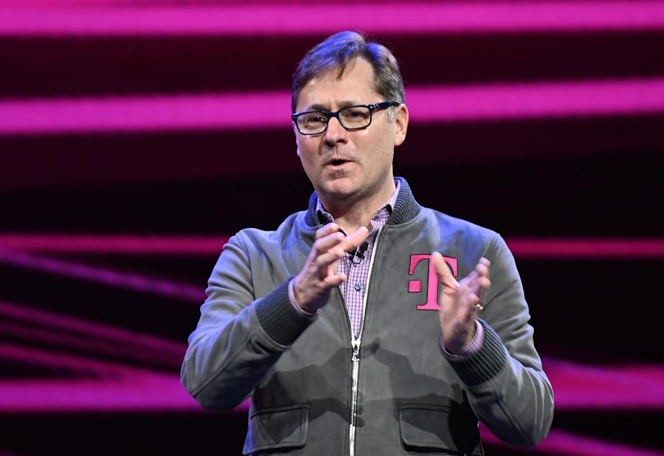 T-Mobile Chief Operating Officer Mike Sievert speaks at the Quibi keynote address January 8, 2020 at the 2020 Consumer Electronics Show (CES) in Las Vegas, Nevada. (Photo by Robyn Beck / AFP) (Photo by ROBYN BECK/AFP via Getty Images)